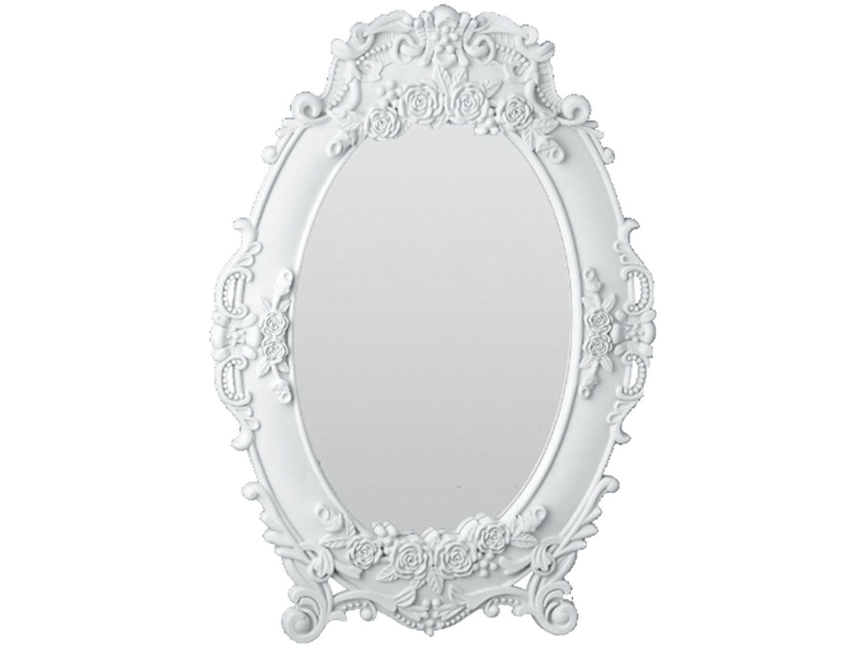 Espelho Decorativo Oval com Moldura de Mesa e - Parede Branco 30x21,5cm Inova Provence