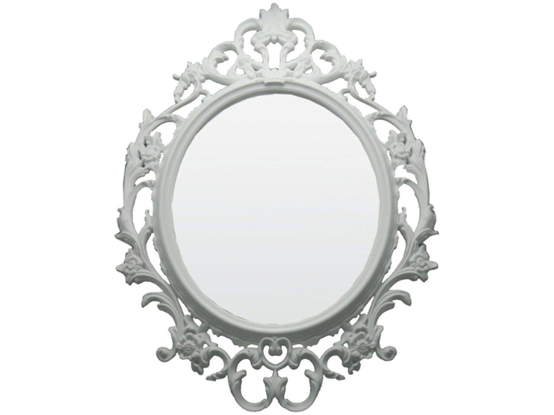 Espelho Decorativo Oval com Moldura de Parede - Branco 82x57cm Inova Versa