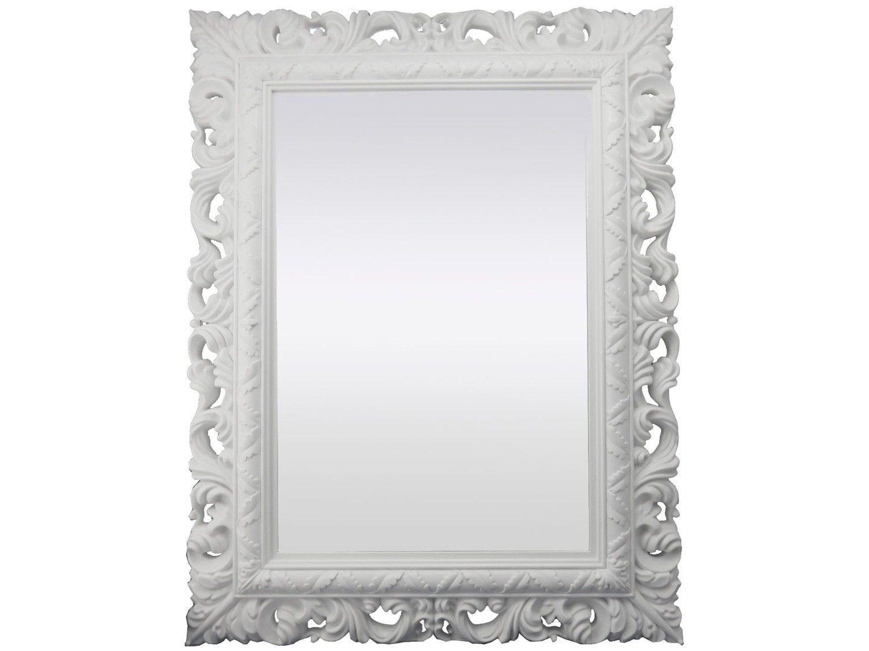 Espelho Decorativo Retangular com Moldura - de Parede Branco 66x51cm Inova Rocco