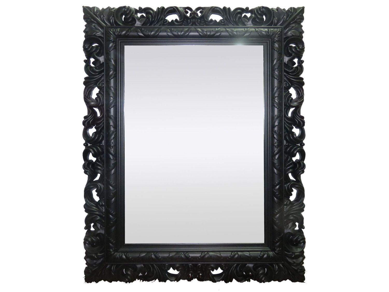 Espelho Decorativo Retangular com Moldura - de Parede Preto 66x51cm Inova Rocco