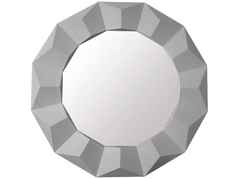 Espelho Decorativo Redondo com Moldura de Parede - Branco 60cm Inova Border