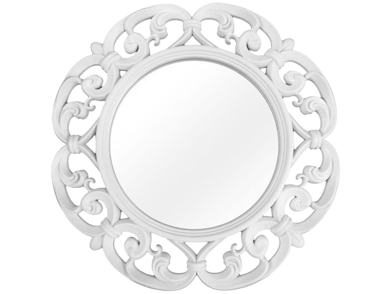 Espelho Decorativo Redondo com Moldura - de Parede Branco 60cm Inova Vênus