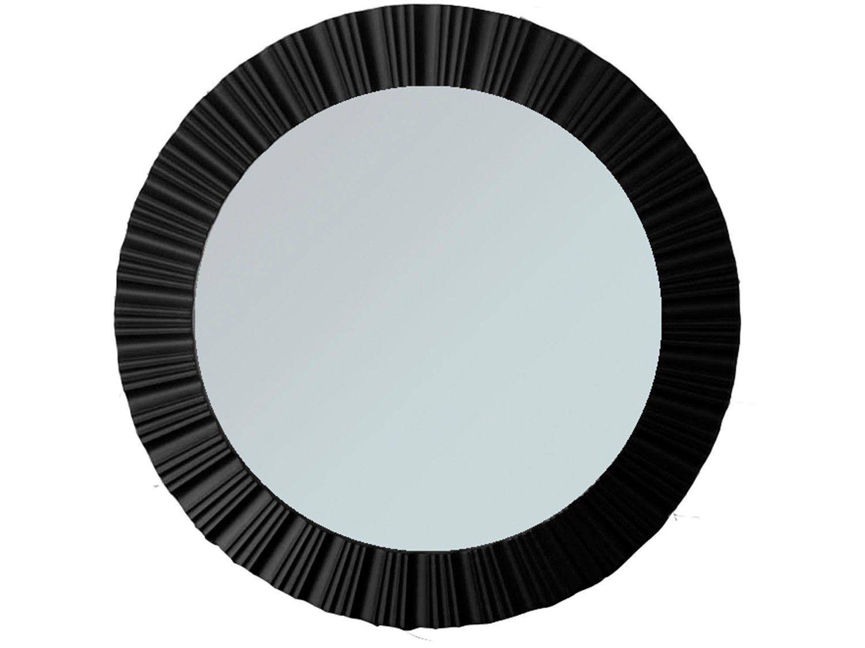 Espelho Decorativo Redondo com Moldura - de Parede Preto 51cm Inova Louis