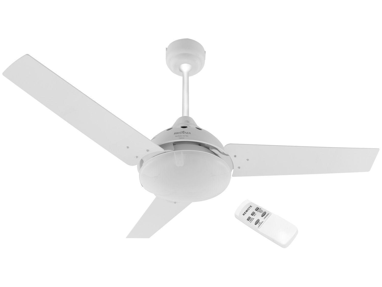 Ventilador de Teto com Controle Remoto Britânia - Cancun BVT02B Branco 3 Pás 3 Velocidades 98cm