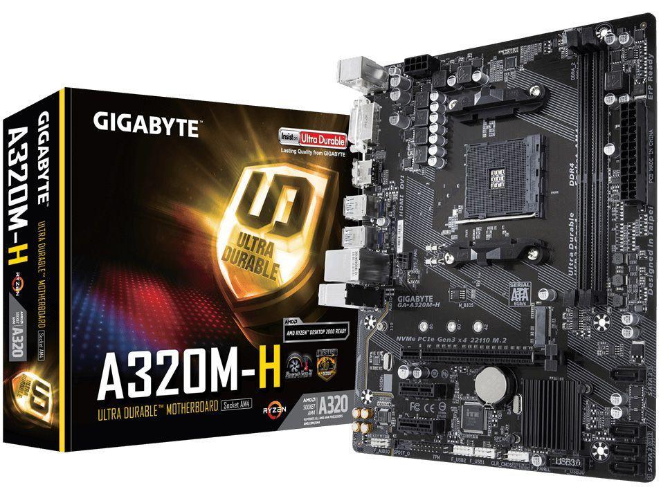 Placa Mãe Gigabyte GA-A320M-H 1.1 - AMD AM4 DDR4 Micro ATX