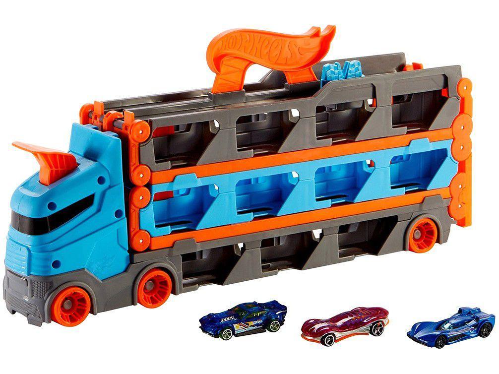 Caminhão de Brinquedo Hot Wheels City Guincho - Pista De Corridas Roda Livre Mattel 7 Peças
