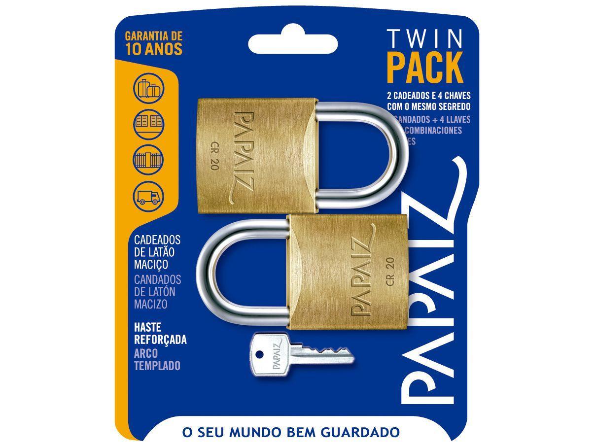 Cadeado Chave Papaiz Twin Pack Duplo - 20mm Amarelo e Cromado 2 Unidades