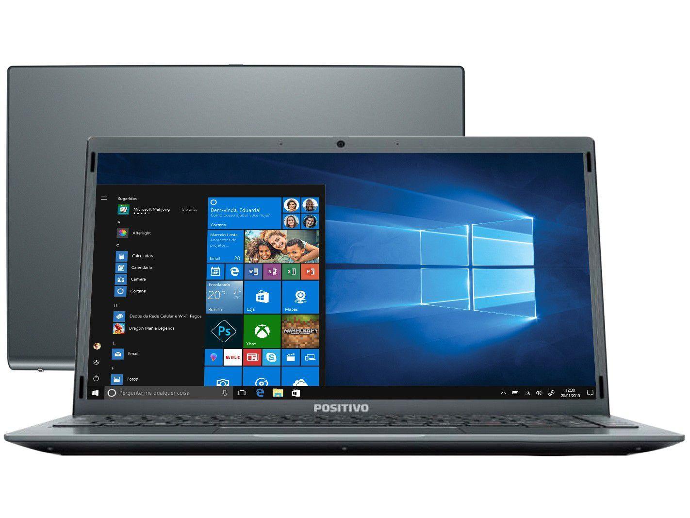 "Notebook Positivo Motion Gray C4128E Intel Celeron - Dual-Core 4GB 128GB SSD 14,1"" LED Windows 10"