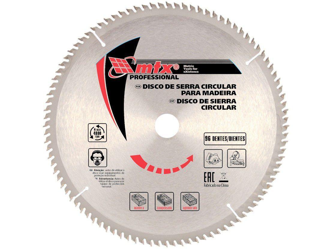 """Disco de Serra Circular 12"""" 96 Dentes para Madeira - MTX Widea"""