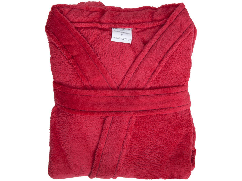 Roupão Atlântica Kimono de Microfibra Dalia - Vermelho