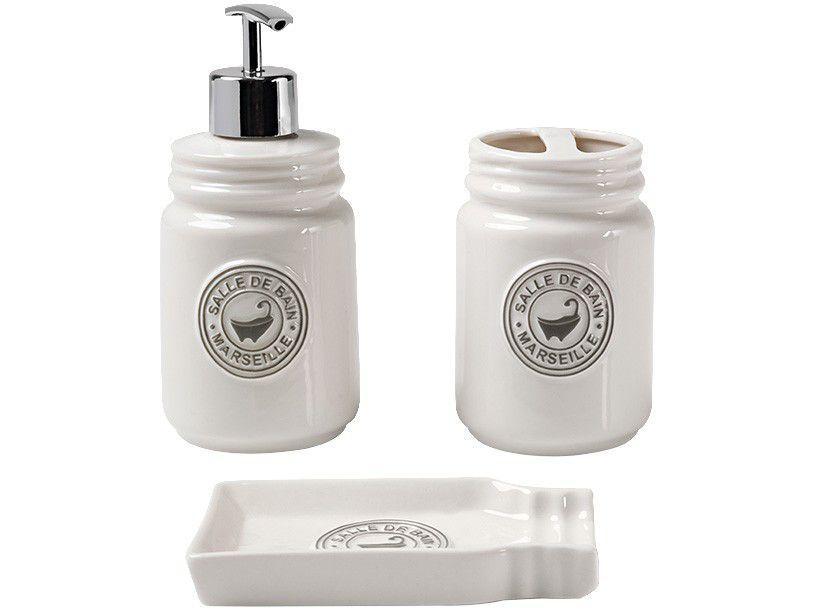 Kit Banheiro Porcelana Haus Concept Pottery Branco - 3 Peças