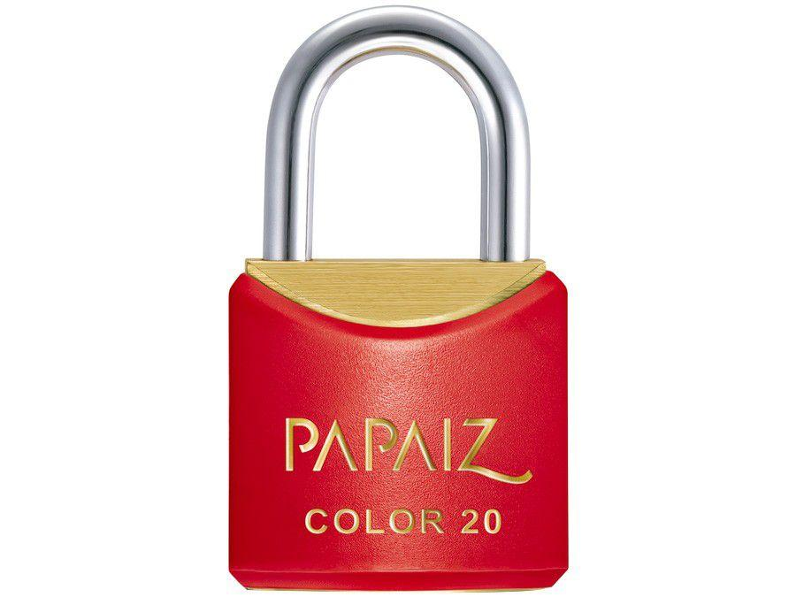Cadeado Chave Papaiz Color Line 20mm Vermelho