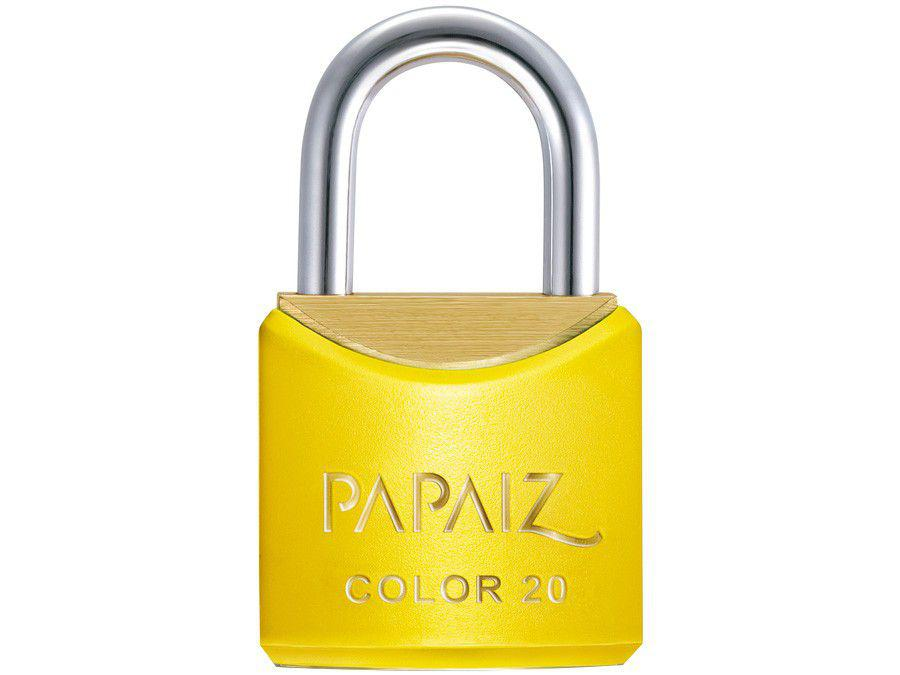 Cadeado Chave Papaiz Color Line 20mm Amarelo