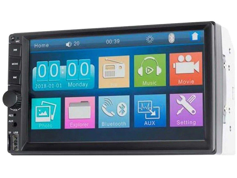 """Central Multimídia Multilaser 2 DIN Câmera de Ré - e Espelhamento Bluetooth 7"""" Touch USB Evolve"""
