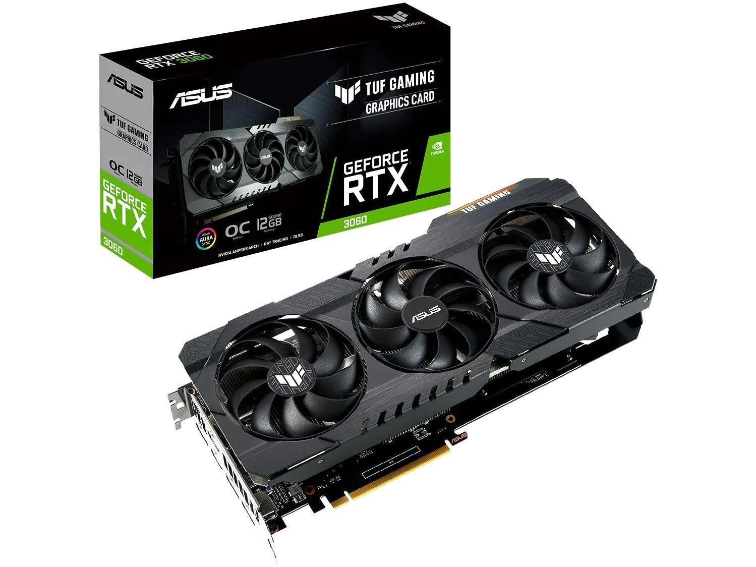 Placa de Vídeo Asus GeForce RTX 3060 - 12GB GDDR6 192 bits TUF Gaming TUFRTX3060O12GG