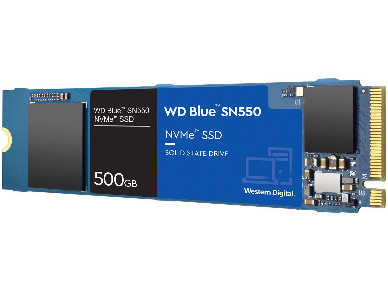 "SSD 500GB Western Digital Blue NVMe M.2 2280 PCIe - 2,5"" Leitura 2400MB/s e Gravação 1950MB/s SN550"