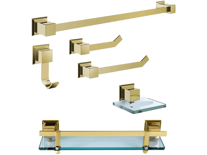 Kit Banheiro Inox Ducon Metais Gold GO5001 - Dourado 6 Peças