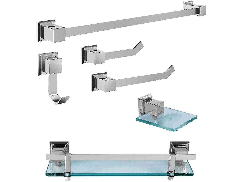 Kit Banheiro Inox Ducon Metais Premium PR4001 - Cromado 6 Peças