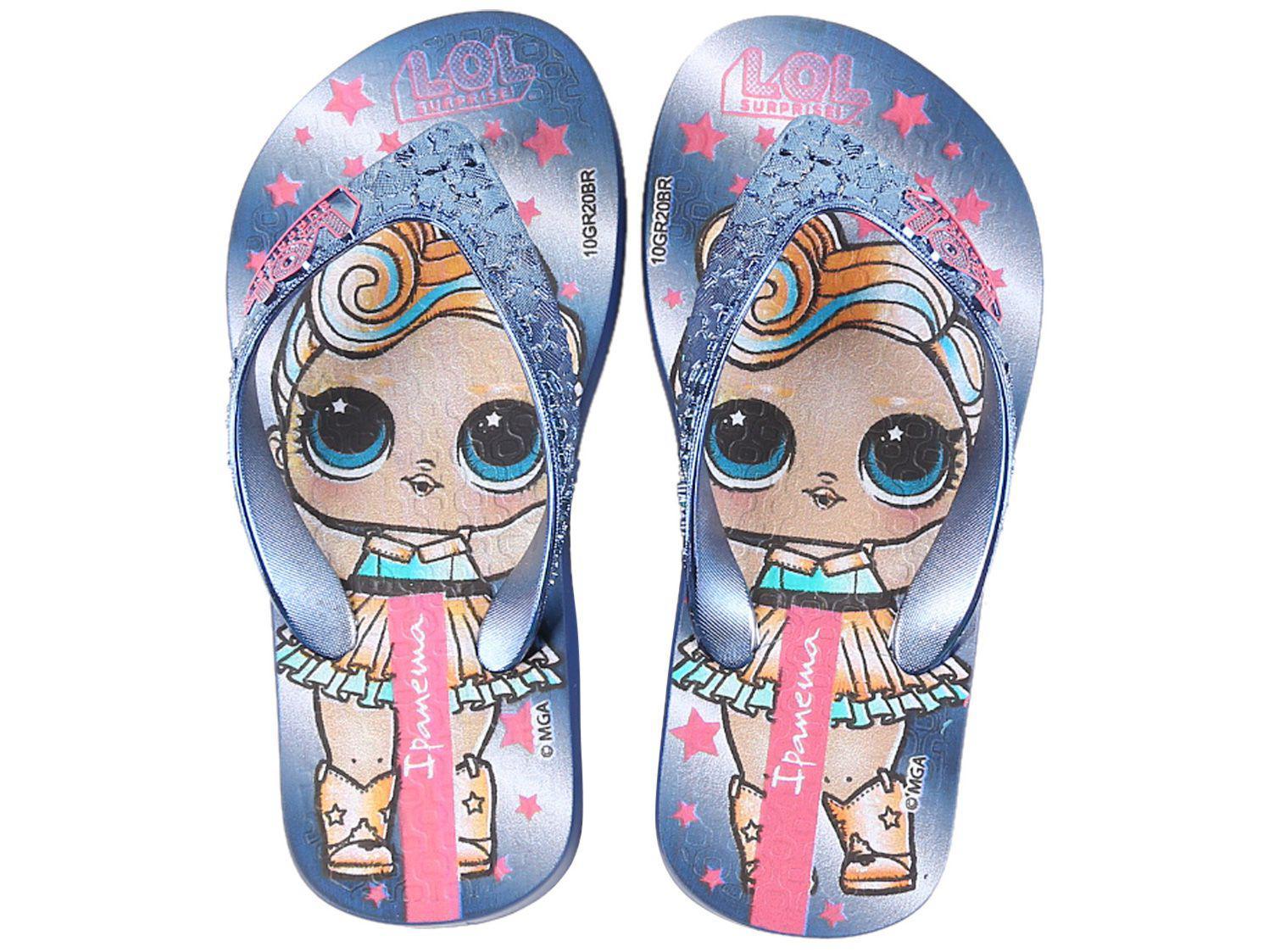 Chinelo Infantil Grendene Kids Feminino - Ipanema LOL Surprise Shine Azul e Prata