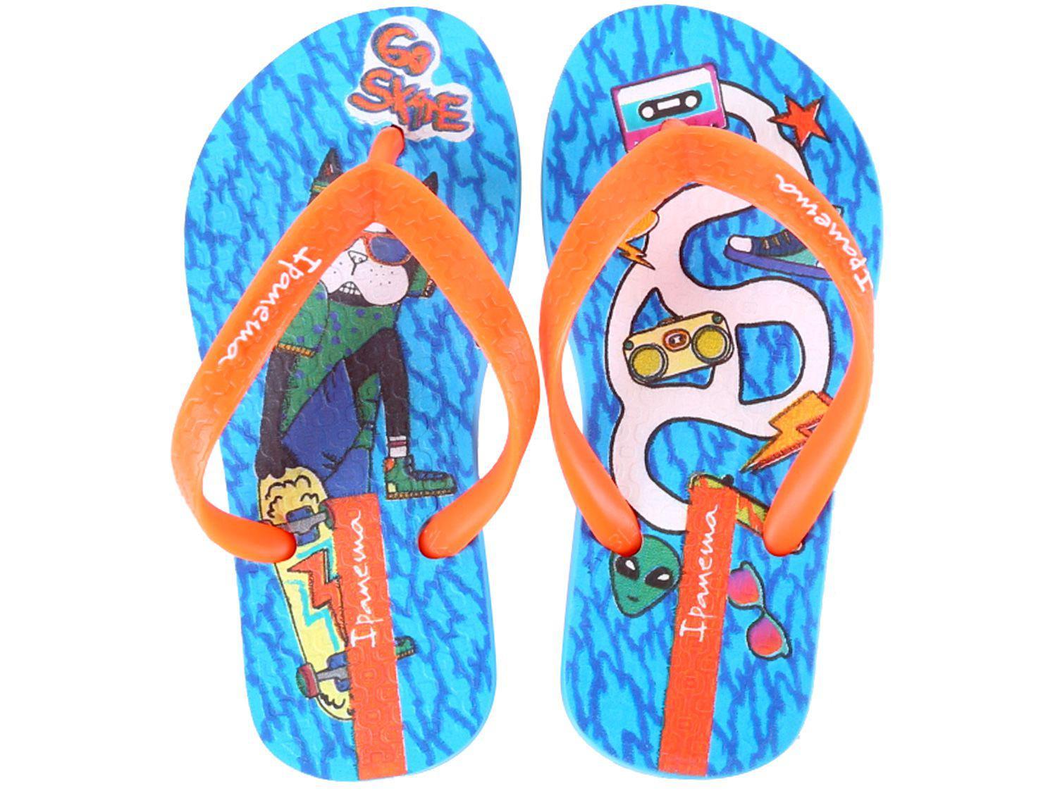 Chinelo Infantil Grendene Kids Ipanema - Masculino Go Skate Azul e Laranja