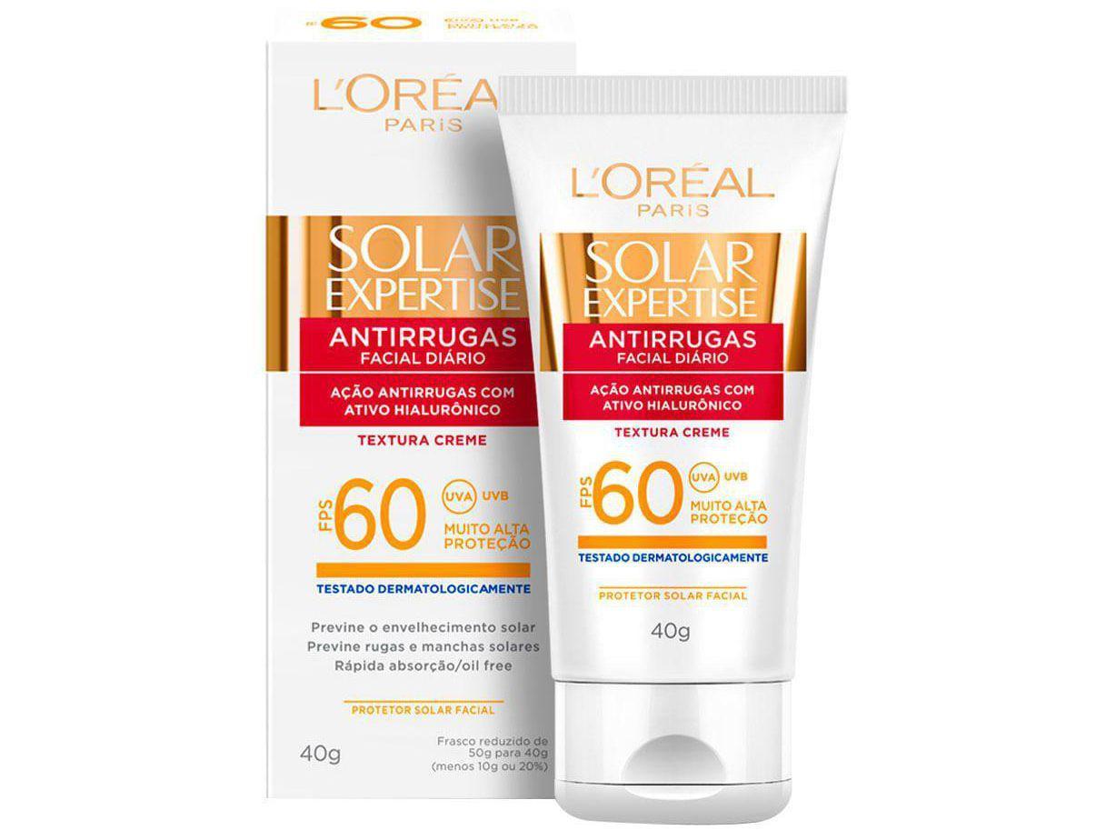Protetor Solar LOréal Paris Solar - Expertise Facial Antirrugas FPS 60