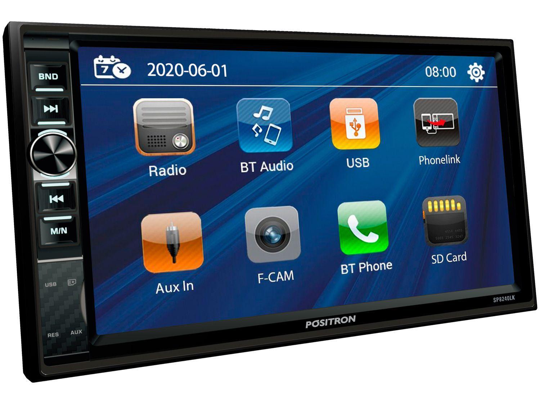 "Central Multimídia Positron 2 DIN Bluetooth 7"" - USB Auxiliar SP8240LK"
