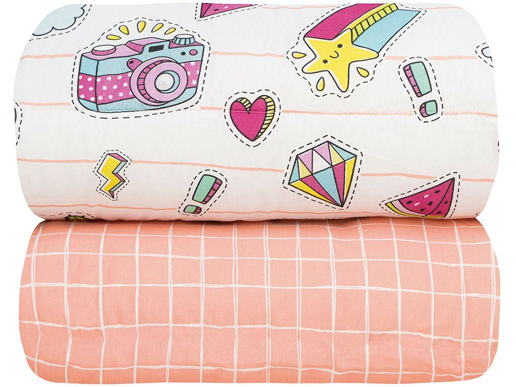 Cobre-leito Infantil Solteiro Sultan 140 Fios - Happy Day Cactos Rosa Claro 2 Peças