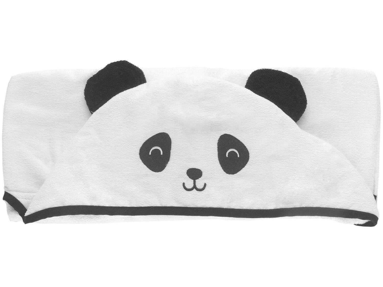 Toalha de Banho para Bebê Teka com Capuz - 100% Algodão Kids Panda Branco e Preto