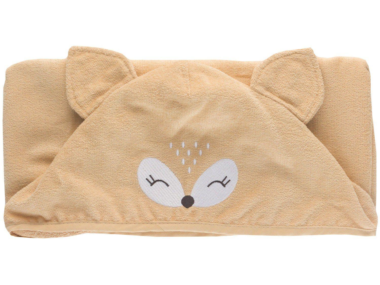 Toalha de Banho para Bebê Teka com Capuz - 100% Algodão Kids Raposa Marrom