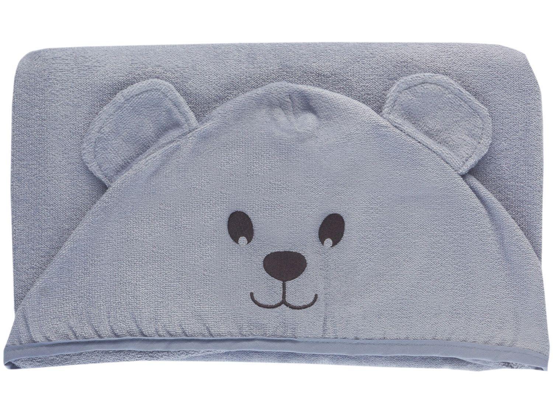 Toalha de Banho para Bebê Teka com Capuz - 100% Algodão Kids Urso Azul