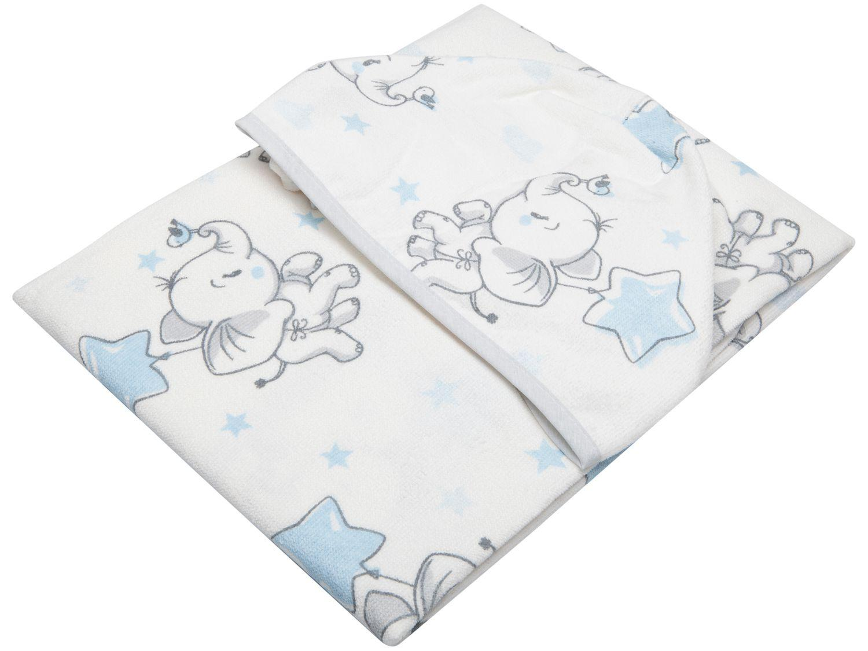 Toalha de Banho para Bebê Teka com Capuz - 100% Algodão Kids Elefante Branco e Azul