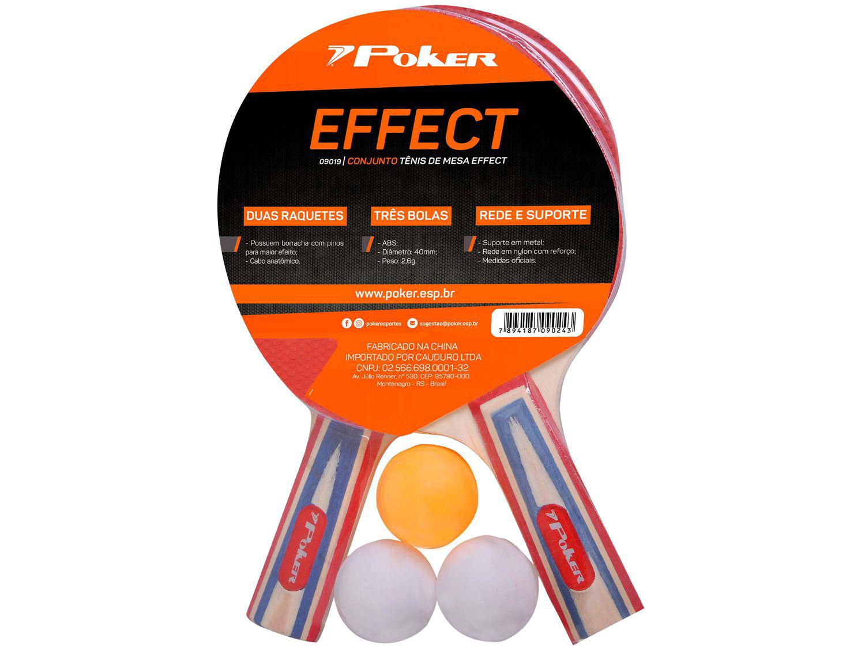 Kit Ping Pong/Tênis de Mesa Poker Effect 7 Peças
