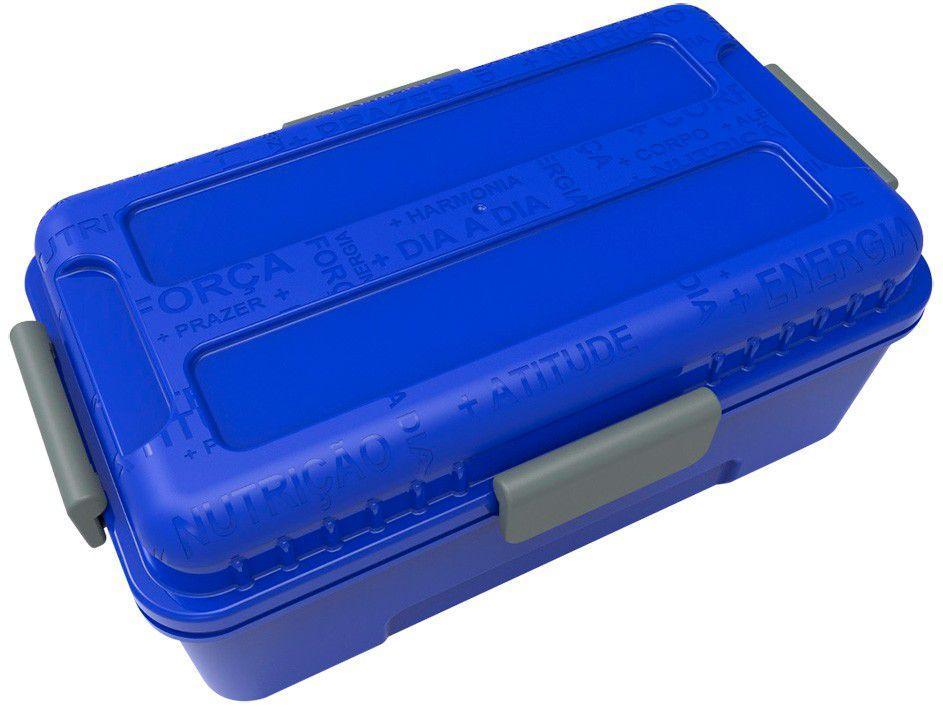 Marmita Térmica com Divisórias Prottector - Fitness Azul