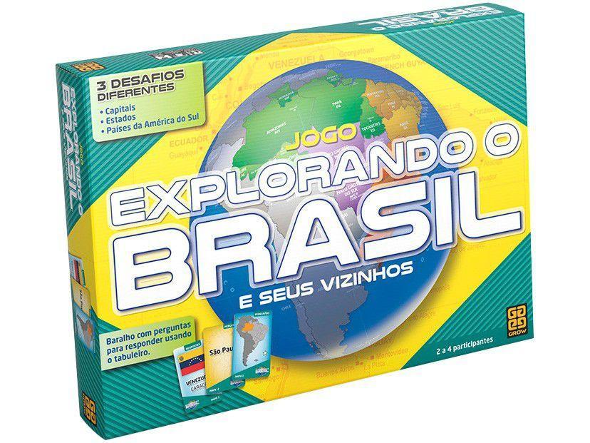 Jogo Educativo Explorando o Brasil Tabuleiro Grow