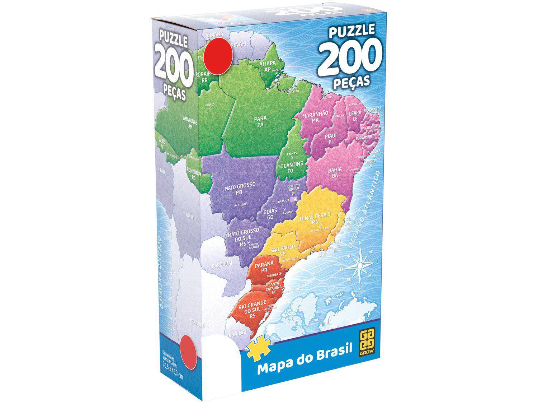 Quebra-cabeça 200 Peças Mapa do Brasil Grow