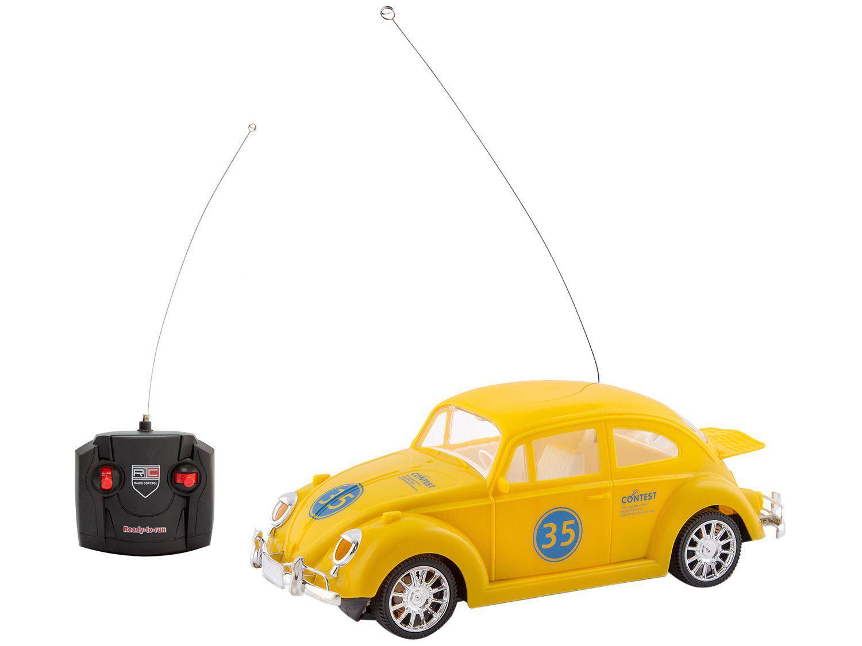 Carrinho de Controle Remoto Carros Clássicos Fusca - 7 Funções Polibrinq Amarelo