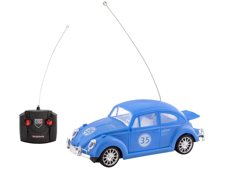 Carrinho de Controle Remoto Carros Clássicos Fusca - 7 Funções Polibrinq Azul
