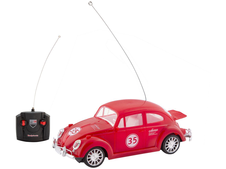 Carrinho de Controle Remoto Carros Clássicos Fusca - 7 Funções Polibrinq Vermelho
