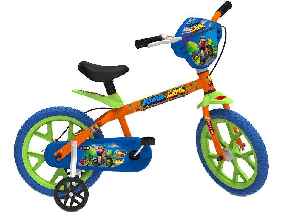 Bicicleta Infantil Aro 14 Bandeirante Power Game - Laranja