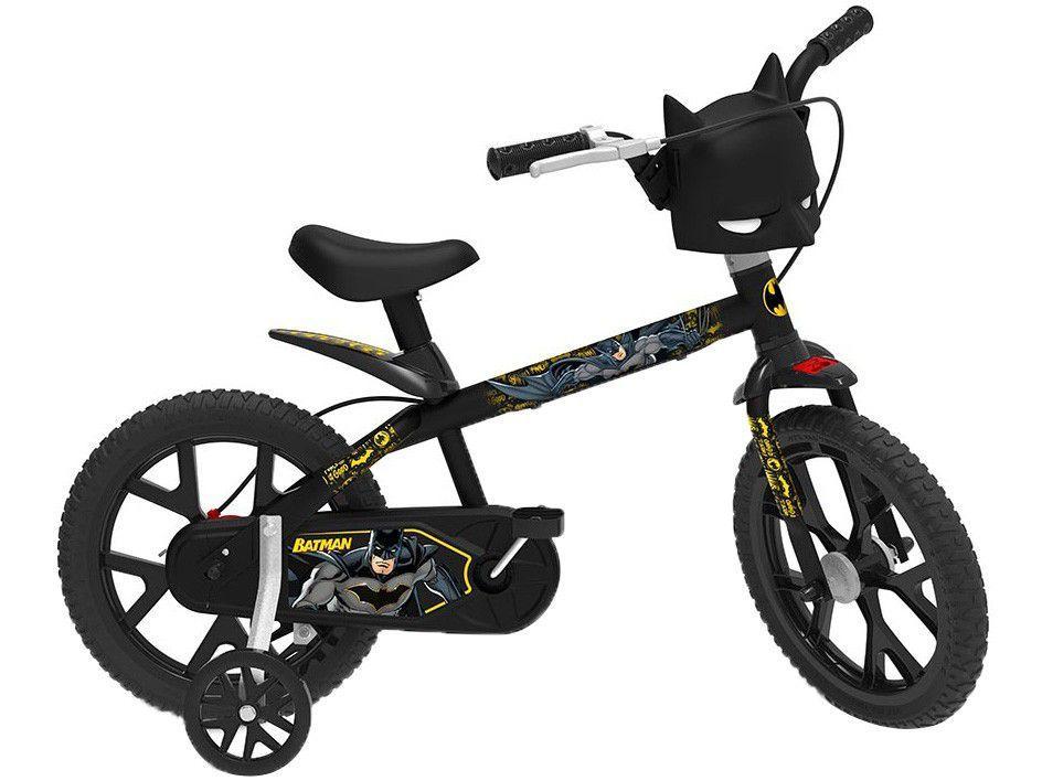 Bicicleta Infantil Aro 14 Bandeirante Batman Preta - com Rodinhas