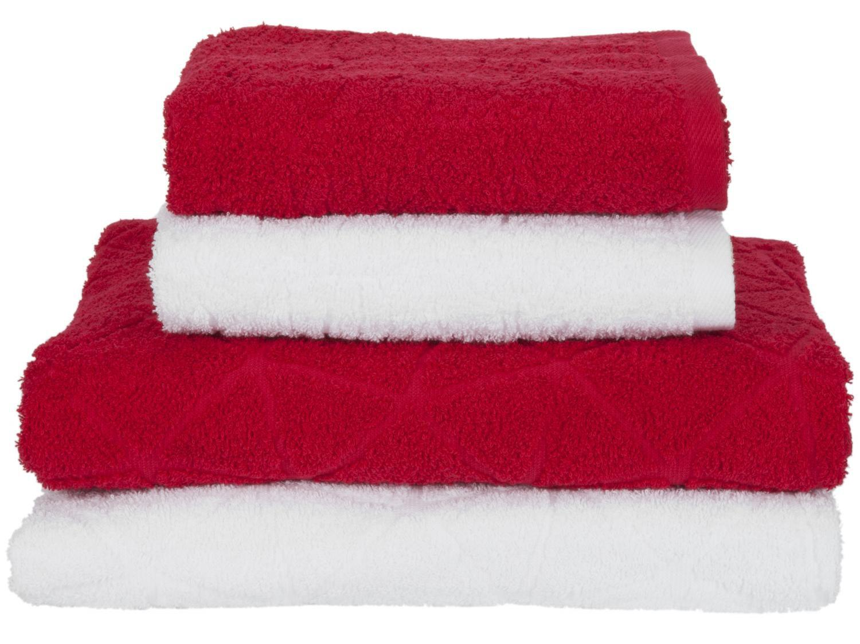Jogo de Toalhas de Banho Sisa Algodão Elisa - Vermelho e Branco 4 Peças