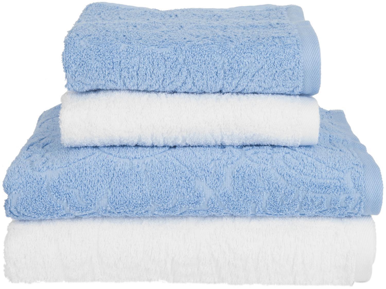 Jogo de Toalhas de Banho Sisa Algodão Elisa - Azul e Branco 4 Peças