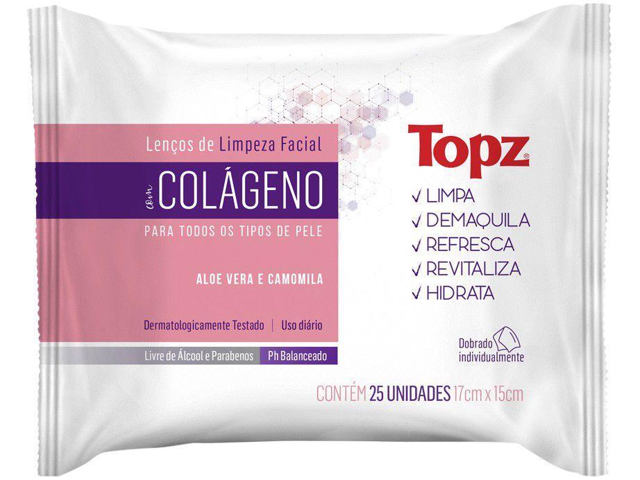 Lenço de Limpeza Facial Topz Colágeno - 25 Unidades