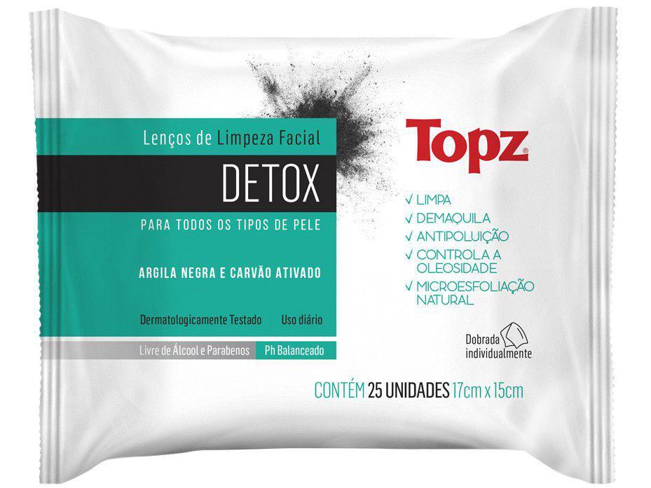 Lenço de Limpeza Facial Topz Detox - 25 Unidades