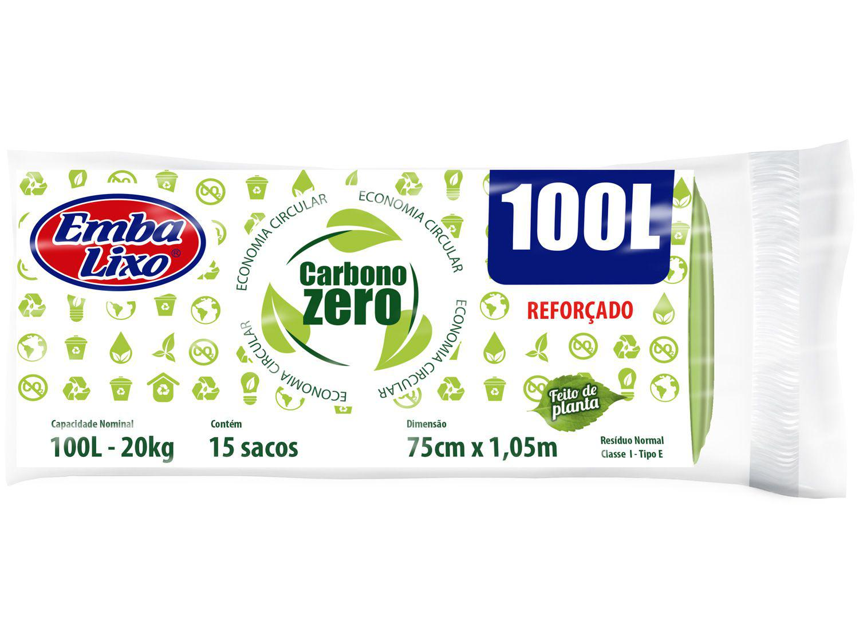 Saco de Lixo Verde 100L Reforçado Embalixo - Carbono Zero 15 Unidades