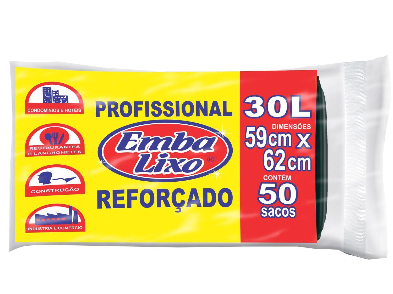 Saco de Lixo Preto 30L Reforçado Embalixo - Profissional 50 Unidades