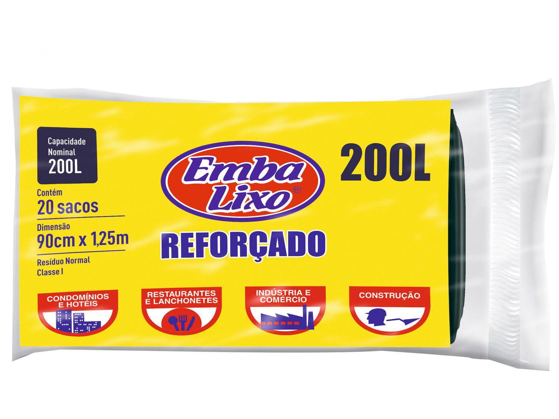 Saco de Lixo Preto 200L Reforçado Embalixo - Profissional 20 Unidades