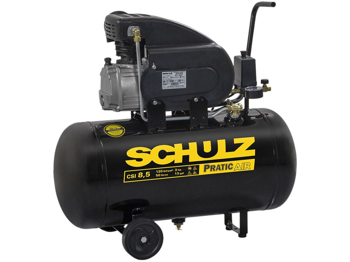 Compressor de Ar Schulz 2HP 50L 8,5 Pés - Pratic Air CSI8.5/50