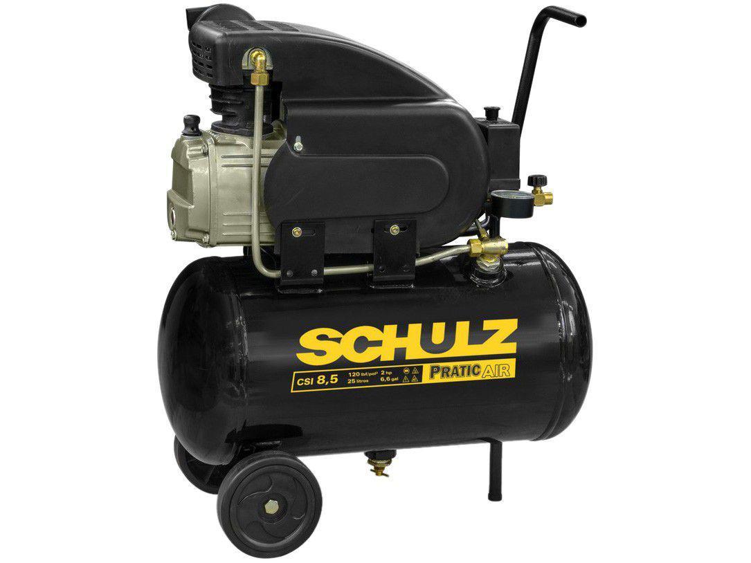 Compressor de Ar Schulz 2HP 25L 8,5 Pés - Pratic Air CSI8.5/25
