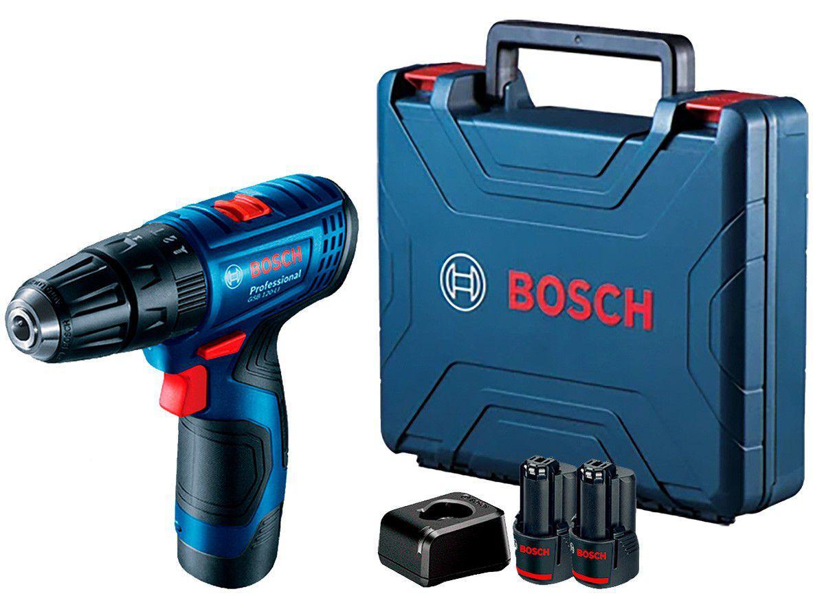 """Furadeira e Parafusadeira a Bateria de Impacto - Bosch 12V Velocidade Variável 3/8"""" com Maleta"""